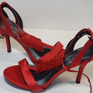 Red Satin Beaded T-strap Pumps